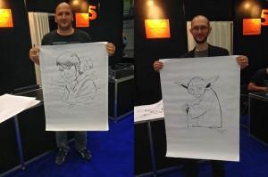 Dallocchio und Molesworth mit ihren Kunstwerken