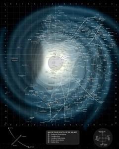 Galaxis Karte Übersicht mit Raster-Koordinaten