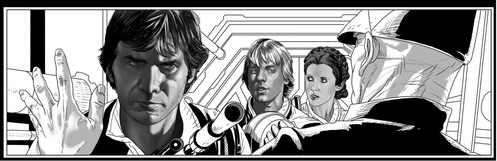 Han, Luke und Leia in einem Panel von Salvador Larroca
