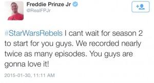Freddie Prinze tweetet über die Länge von Star Wars Rebels Staffel 2