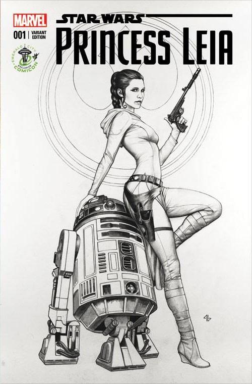 Princess Leia #1 (Adi Granov Emerald City Comicon Black & White Variant Cover) (27.03.2015)