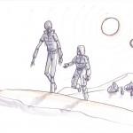 Boba Fett und Cad Bane verlassen ein Tusken-Camp (Konzeptzeichnung von Dave Filoni)