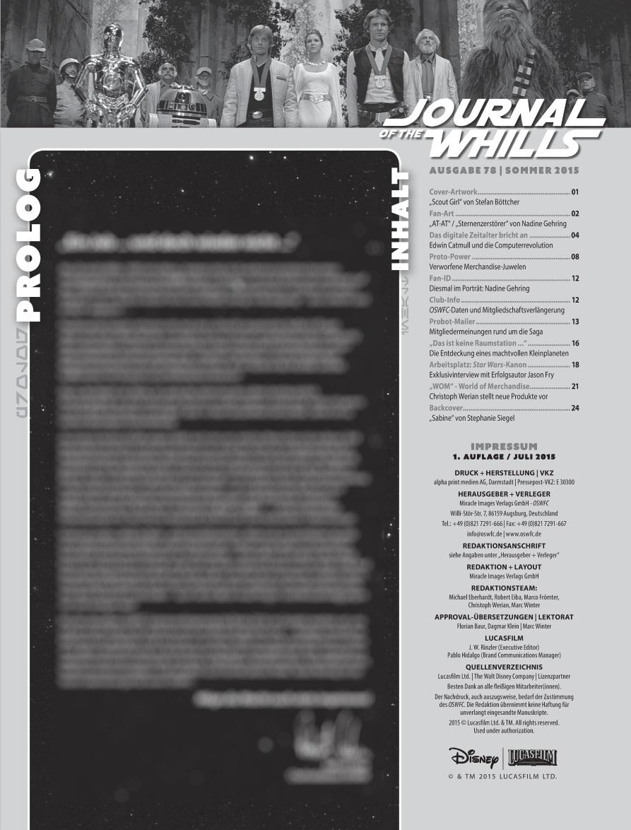 Journal of the Whills #78 - Inhaltsverzeichnis