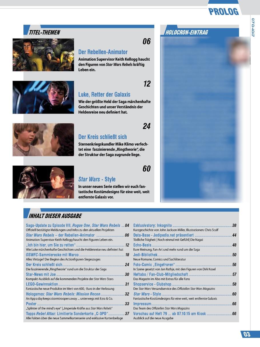 Offizielles Star Wars Magazin #78 - Inhaltsverzeichnis