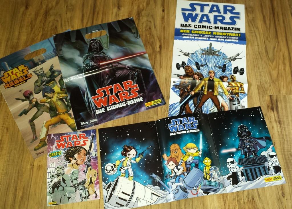 Werbemittel und Gratisheft zum Star Wars-Comic-Tag