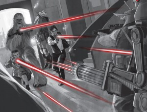 Ematt, Chewie und Han kurz nach Episode IV in <em>Smuggler's Run</em>