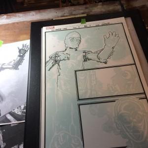 C-3PO – Tuschezeichnung für Seite 3 in Arbeit