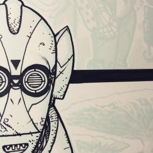 C-3PO – Tuschezeichnung in Arbeit