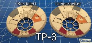 Das korrigierte und das unbearbeite Bauteil TP-3.