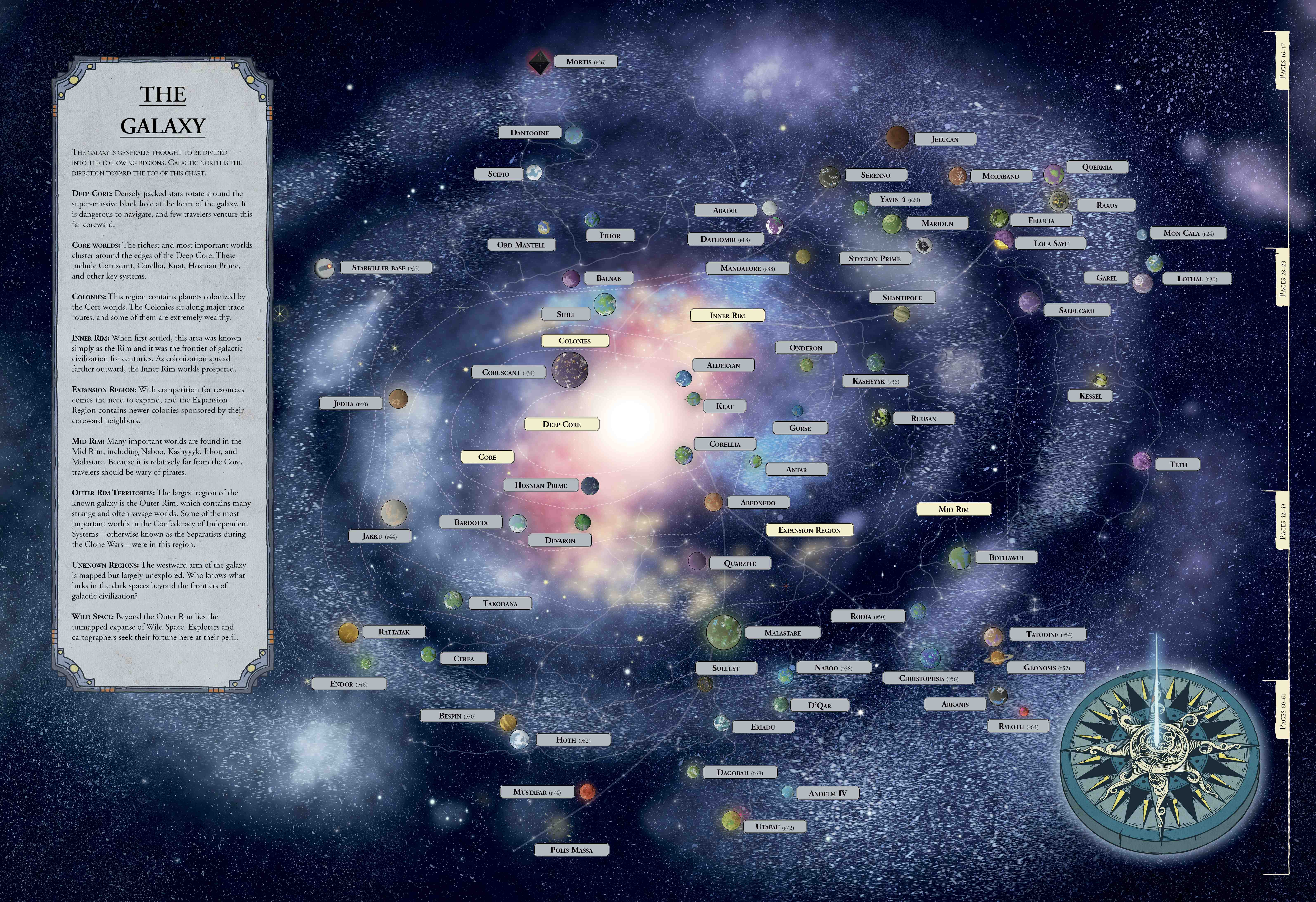 Aurebesh translations of galaxy map show the location of Ahchto