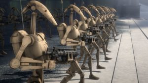 Auf Agamar sind noch Kampfdroiden aus den Klonkriegen aktiv.