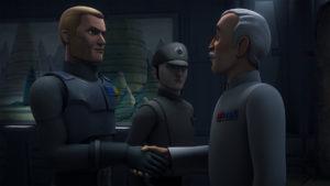 Agent Kallus, hier mit Lieutenant Lyste und Colonel Yularen, steht in <em>Through Imperial Eyes</em> kurz vor der Enttarnung.