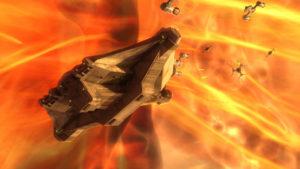 """Die Rebellen fliehen in """"Die geheime Fracht"""" durch einen Sternennebel."""