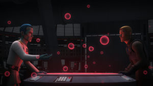 """Thrawn weiß am Ende von """"Mit den eigenen Waffen"""", dass sich die Rebellenbasis auf einem von 94 Planeten befindet."""