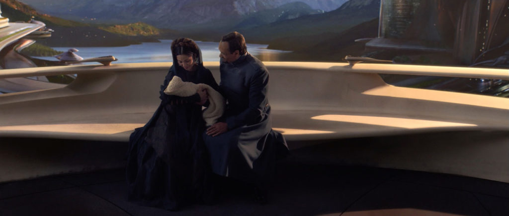 Breha und Bail Organa mit Leia