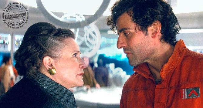 Star Wars: Die letzten Jedi: Carrie Fisher als General Leia Organa und Oscar Isaac als Poe Dameron