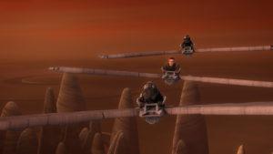 """Die Rebellen fliegen in """"Jedi Night"""" mit Gleitern."""