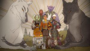 """Am Ende von """"Familientreffen und Abschied"""" verewigt Sabine die Ghost-Crew in einem Gemälde."""