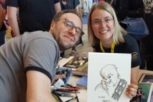 Ines mit Alain Mauricet und der fertigen Zeichnung