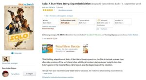 Solo: A Star Wars Story Del Rey-Ausgabe bei Amazon