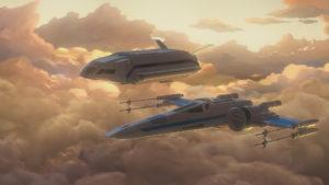 """Poe bringt Kaz in """"Notruf aus Sektor Sechs"""" einen Trick mit dem X-Wing bei."""