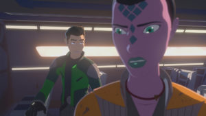 Kaz trifft auf die Überlebende Synara.