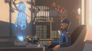 """Captain Doza kommuniziert in """"Die Kinder von Tehar"""" mit Phasma."""