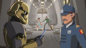 Torra und Kaz beobachten, wie Commander Pyre Captain Doza ein Datapad übergibt.