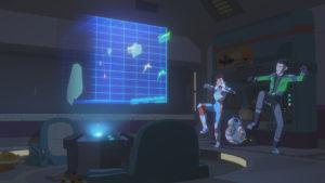 Torra und Kaz spielen zusammen ein Simulationsspiel.