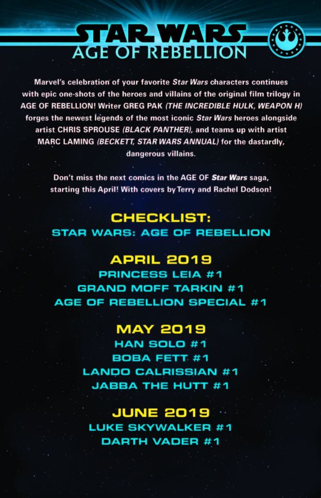 Age of Rebellion - Checklist (Bildquelle: Marvel PR)