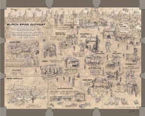 Karte des Black Spire Outpost (Barnes & Noble Ausgabe von Black Spire)