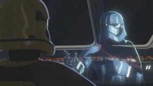 Commander Pyre erstattet Captain Phasma Bericht.