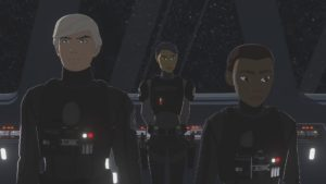 Jace Rucklin, Agent Tierny und Tam Ryvora bei der Ersten Ordnung