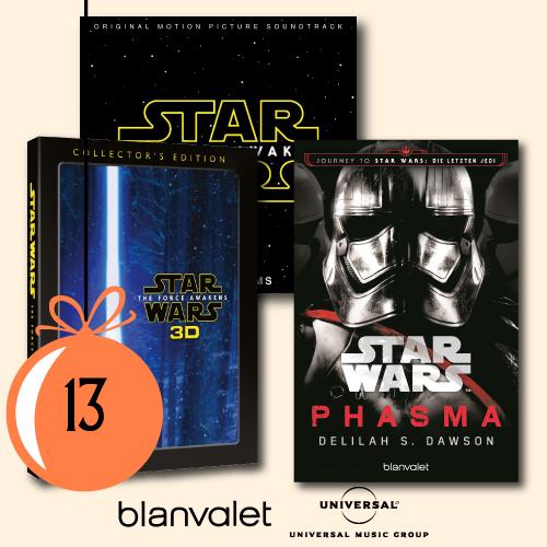 1x The Force Awakenes als 3D Blur-ray in der Collector's Edition, 1x der Soundtrack zum Film in der Deluxe Version und 1x Phasma