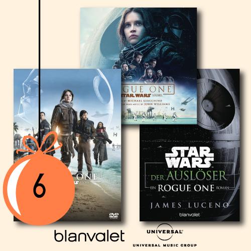 1x Der Auslöser als eBook,5x Rogue One auf DVD und 1x der Soundtrack zum Film