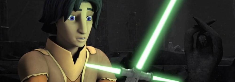 Ezra und ein Parierstangen-Lichtschwert